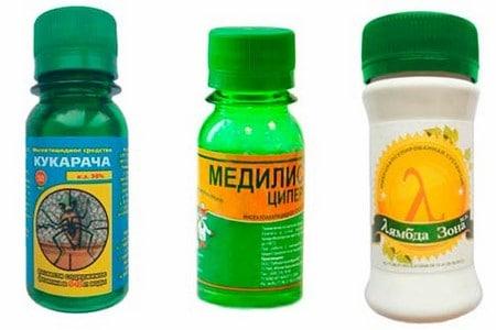 Флаконы препаратов борьбы с клопами