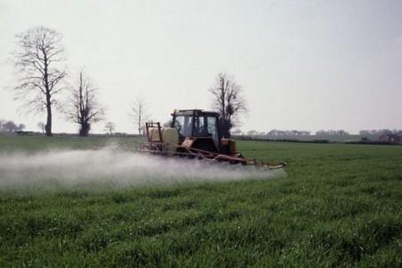 Трактор распыляет вещество на поле