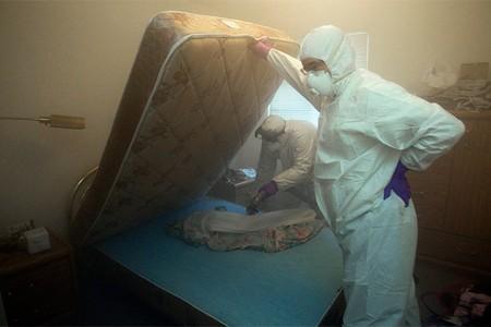 Люди в защитных костюмах опрыскивают кровать